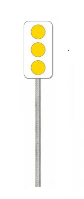 Type 2 Marker Galvanized Post - Yellow Sign