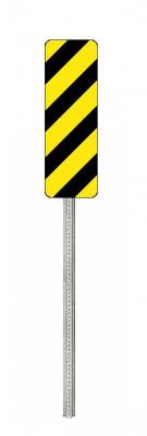 Type 3 Marker Galvanized Post - Black/Yellow Sign